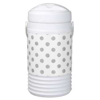 Elegant Silver Glitter Polka Dots Pattern Drinks Cooler