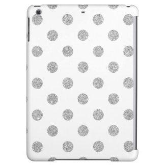 Elegant Silver Glitter Polka Dots Pattern iPad Air Cover