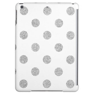 Elegant Silver Glitter Polka Dots Pattern iPad Air Cover