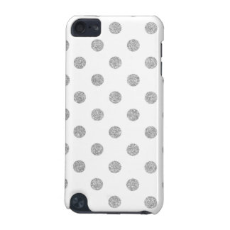 Elegant Silver Glitter Polka Dots Pattern iPod Touch 5G Cases