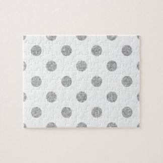 Elegant Silver Glitter Polka Dots Pattern Jigsaw Puzzle