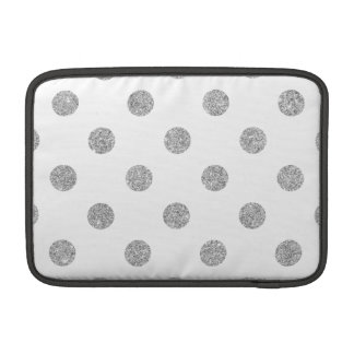 Elegant Silver Glitter Polka Dots Pattern MacBook Sleeves