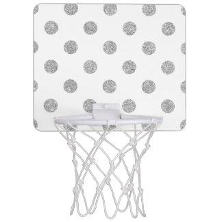 Elegant Silver Glitter Polka Dots Pattern Mini Basketball Hoop