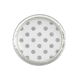 Elegant Silver Glitter Polka Dots Pattern Photo Rings