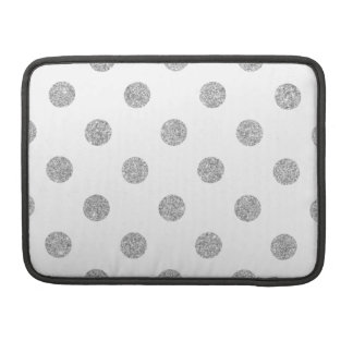 Elegant Silver Glitter Polka Dots Pattern Sleeve For MacBooks