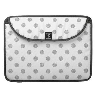 Elegant Silver Glitter Polka Dots Pattern Sleeves For MacBook Pro