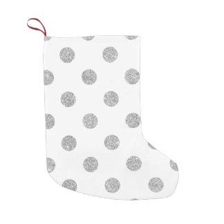 Elegant Silver Glitter Polka Dots Pattern Small Christmas Stocking