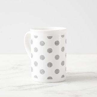 Elegant Silver Glitter Polka Dots Pattern Tea Cup
