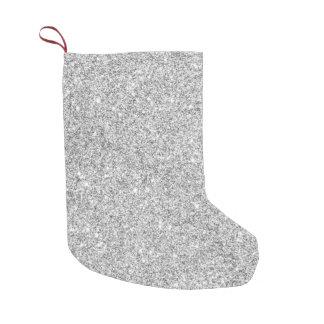 Elegant Silver Glitter Small Christmas Stocking