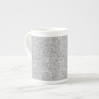 Elegant Silver Glitter Tea Cup