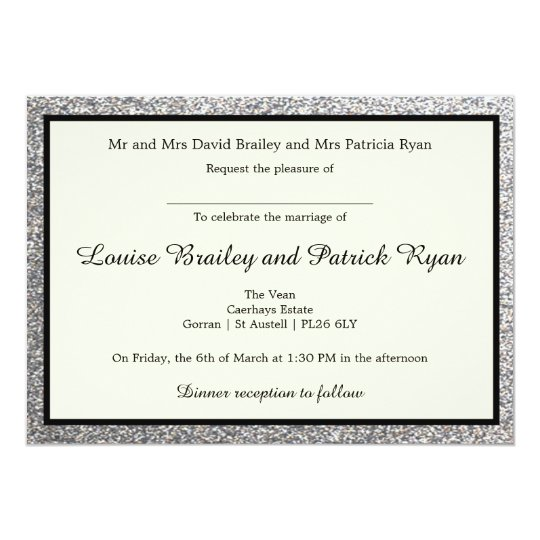Elegant Silver Glitter Wedding Invitation