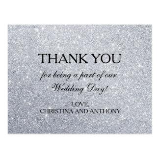 Elegant Silver Glitter Wedding Thank You Note Postcard