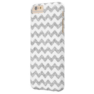 Elegant Silver Glitter Zigzag Chevron Pattern Barely There iPhone 6 Plus Case