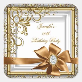 Elegant Silver Gold Jewel image Birthday Party Square Sticker