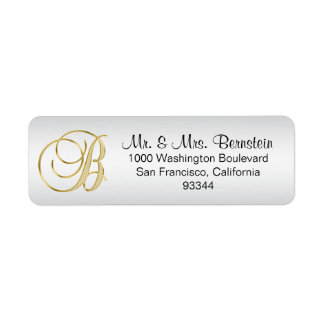 Elegant Silver Gold Monogram Letter 'B' Return Return Address Label