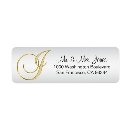 Elegant Silver Gold Monogram Letter 'J' Return Return Address Label