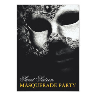 Elegant Silver Gold Sweet 16 Masquerade Invitation Personalized Announcements