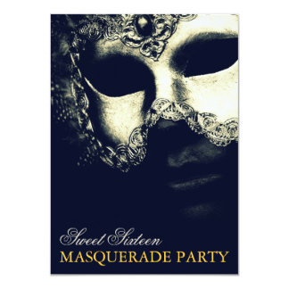 Elegant Silver Gold Sweet 16 Masquerade Invitation