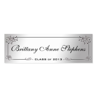 Elegant Silver Graduation Name Card Insert Business Card Template