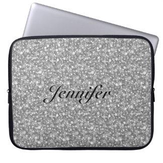 Elegant Silver Gray Glitter & Sparkles 2-Monogram Laptop Sleeve