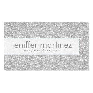 Elegant Silver Gray Glitter & Sparkles Texture Pack Of Standard Business Cards