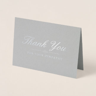 Elegant Silver & Gray Sympathy Thank You Foil Card