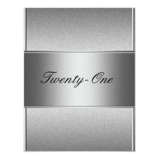 Elegant Silver Grey Metal Black 21st Birthday Card