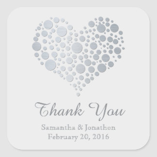 Elegant Silver Heart Light Gray Wedding Thank You Square Sticker