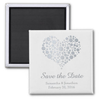 Elegant Silver Heart on Light Gray Save the Date Magnet