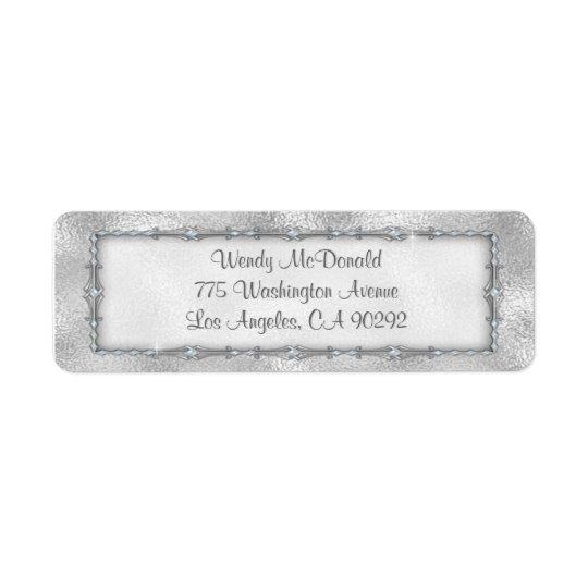Elegant Silver Jewelled Return Address Labels