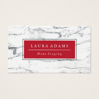 Elegant Silver Marble & Crimson Business Card