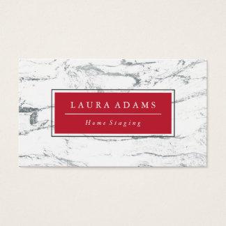 Elegant Silver Marble & Crimson Business Card