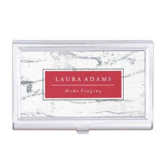 Elegant Silver Marble & Crimson Business Card Holder