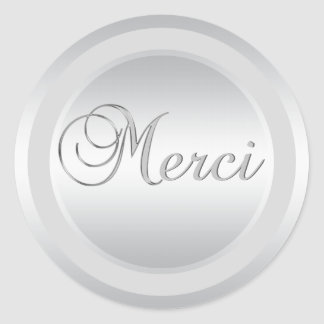 Elegant Silver MERCI Labels Stickers