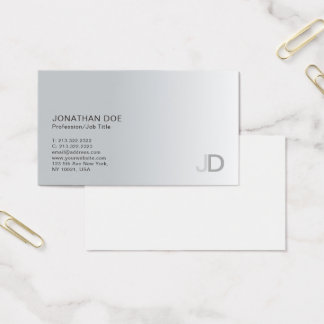 Elegant Silver Modern Professional Monogram Plain Business Card