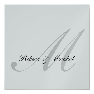 "Elegant Silver Monogram Wedding (with wording) 5.25"" Square Invitation Card"