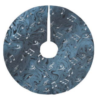 elegant silver music notes in blue brushed polyester tree skirt