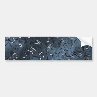 elegant silver music notes in blue bumper sticker
