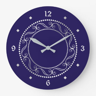 Elegant Silver Ornate Retro Design Clock