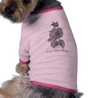 Elegant Silver Peony Floral Customizable Dog Shirt