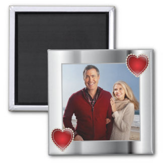 Elegant Silver Photo Red Heart Frame Square Magnet