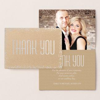 Elegant silver photo thank you foil card