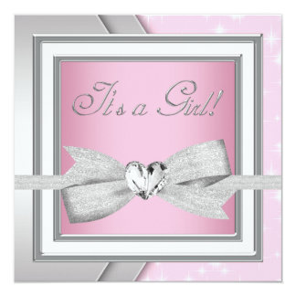 "Elegant Silver Pink Baby Girl Shower 5.25"" Square Invitation Card"