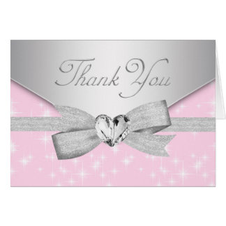 Elegant Silver Pink Baby Thank You Cards