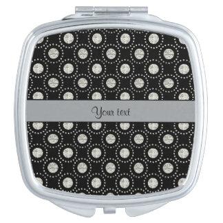 Elegant Silver Polka Dots Black Compact Mirror