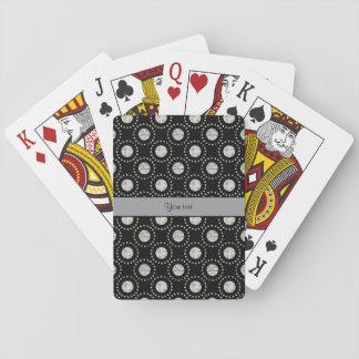 Elegant Silver Polka Dots Black Playing Cards