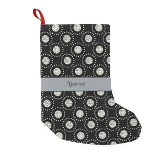 Elegant Silver Polka Dots Black Small Christmas Stocking