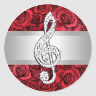 Elegant Silver Red Rose Treble Clef Stickers