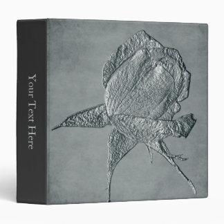 Elegant Silver Rosebud Floral Art Vinyl Binders