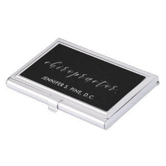 Elegant Silver Script Chiropractor Business Card Holder